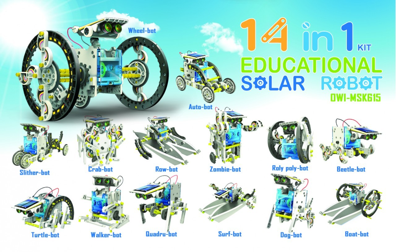 Solar Bouwpakket 14 in 1 Roll-E Solar Robot Kit