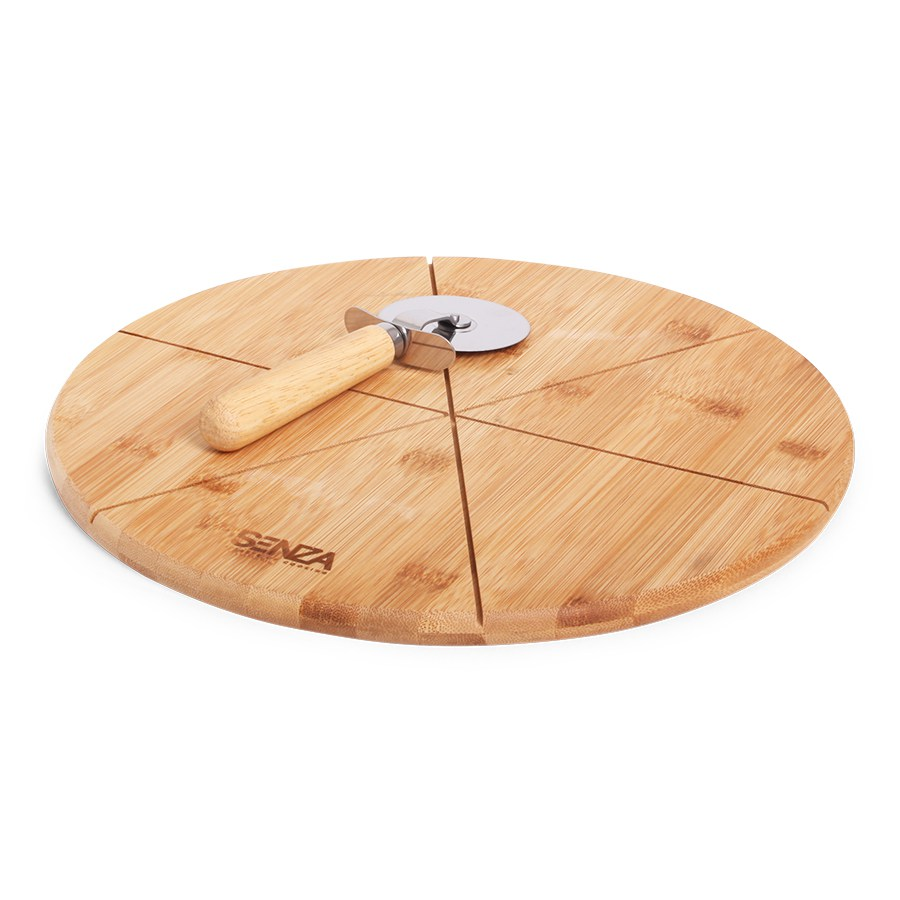 SENZA Bamboo Pizza Cutting Plate with Slicer